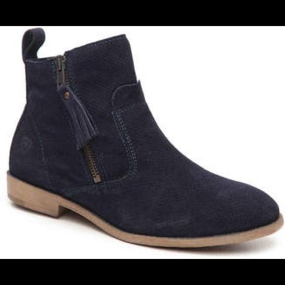 Blue suede flat booties